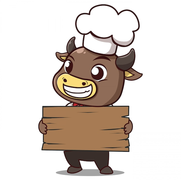 Bull chef holds a sign with space to put your message down. Premium Vector