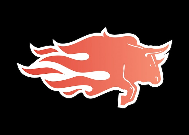 Bull fire logo icon illustration for branding, car wrap decal, sticker and stripes Premium Vector