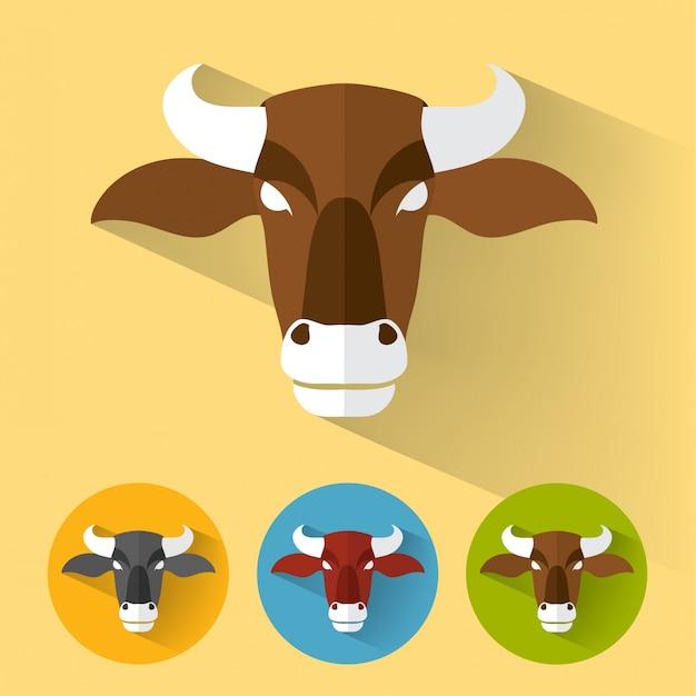Bull flat portrait Free Vector