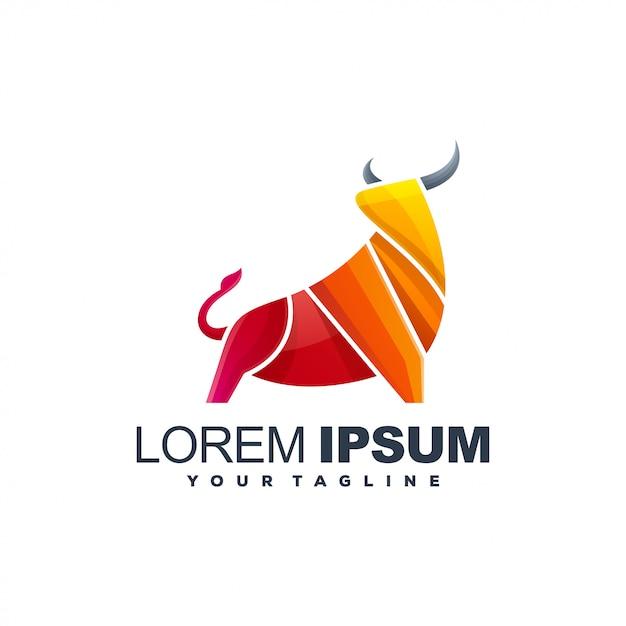 Bull gradient logo template Premium Vector