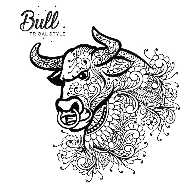 Bull head tribal style hand drawn Premium Vector