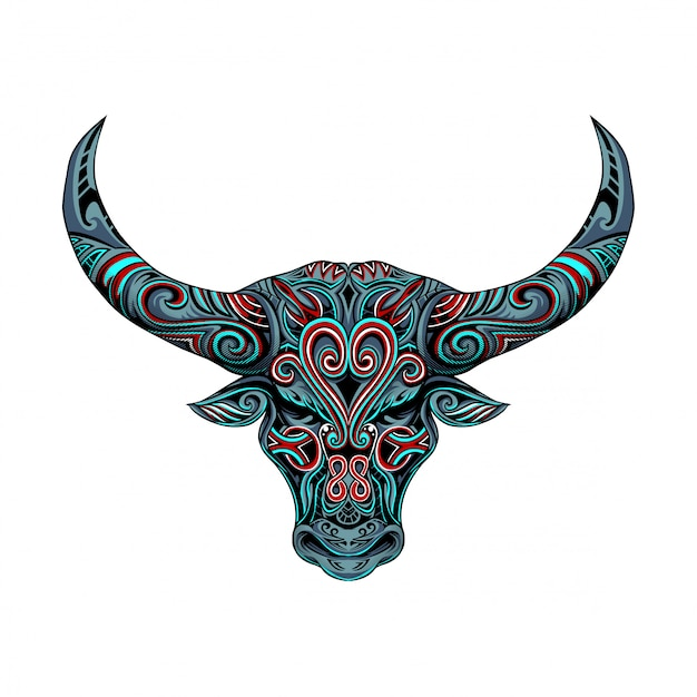 Bull head vector ornament Premium Vector