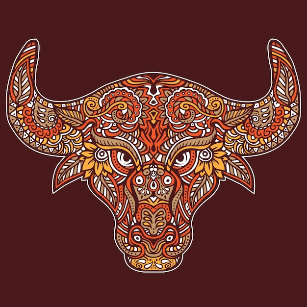 装飾的なペイズリー柄の雄牛の野生動物 Premiumベクター