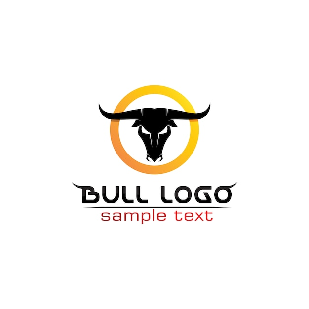 Bull horn logo and symbols template icons app Premium Vector