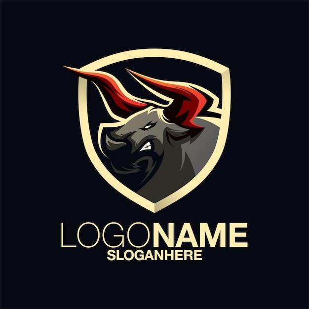Bull logo design Premium Vector