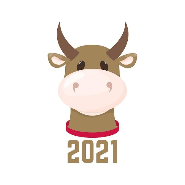 ブル新年のシンボル。中国の牛の伝統的な干支祭りのシンボル。 Premiumベクター