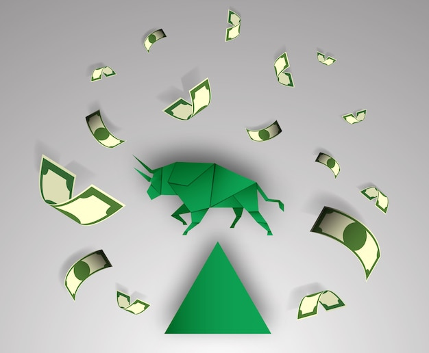 Bull paper art with money for stock market vector and illustration Premium Vector