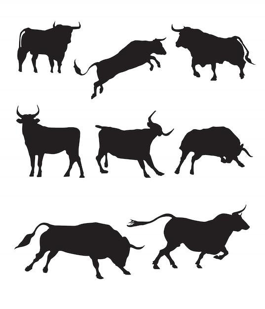 Bull silhouette Premium Vector