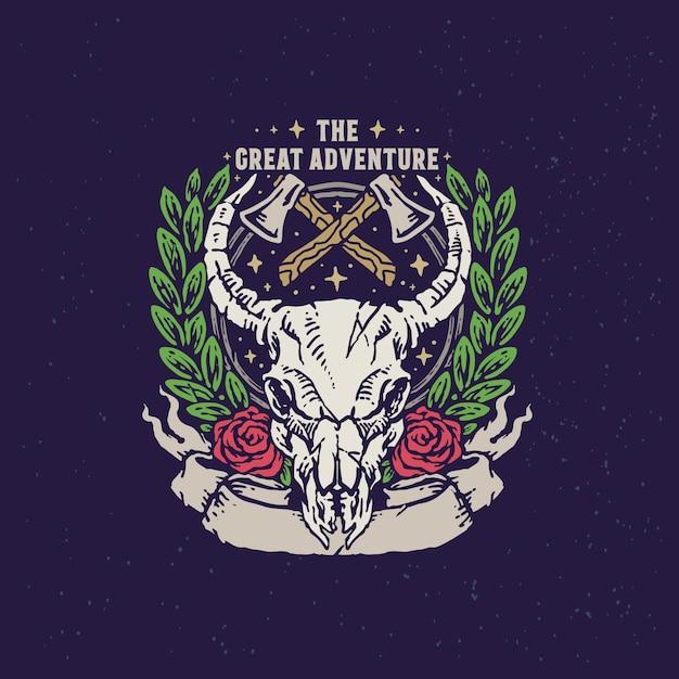 Bull skull adventure урожай рисованной иллюстрации Premium векторы