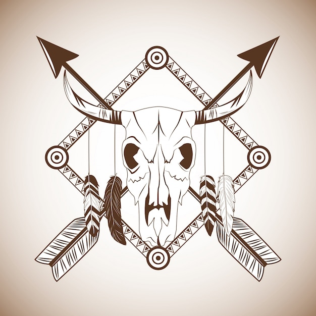 Bull skull icon Premium Vector