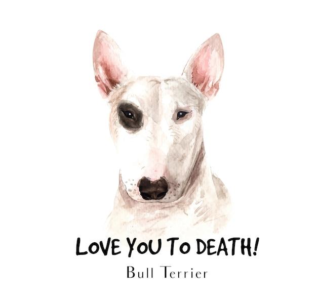 Bull terrier dog watercolor for printing. Premium Vector