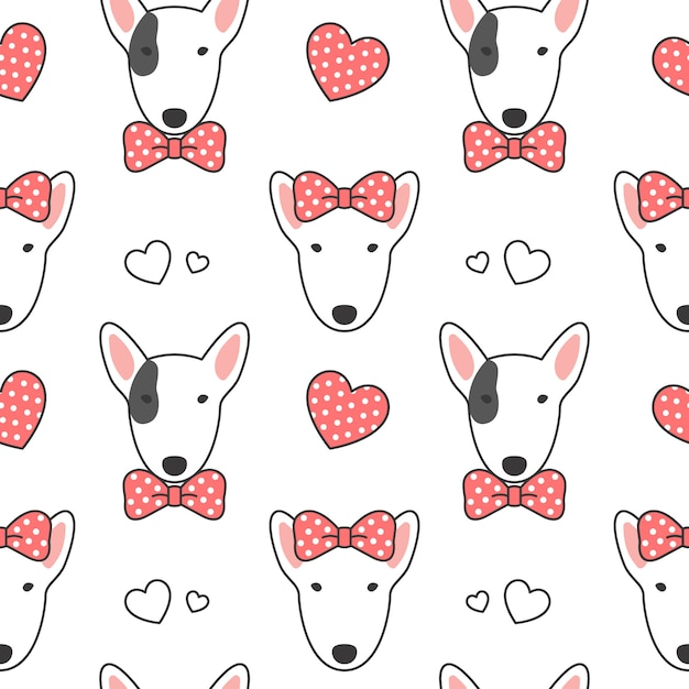 Bull terrier seamless pattern background Premium Vector