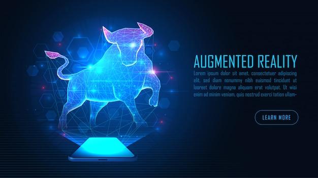 Виртуальная дополненная реальность bull выделяется на фоне смартфонов Premium векторы