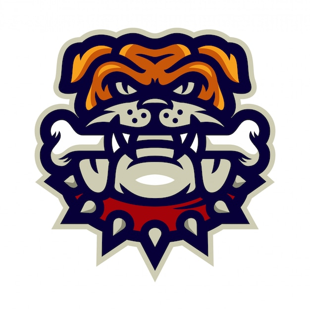 Bulldog bite bone mascot logo vector illustration Premium Vector