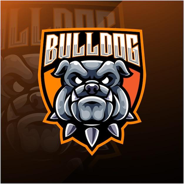 Логотип bulldog head esport mascot Premium векторы