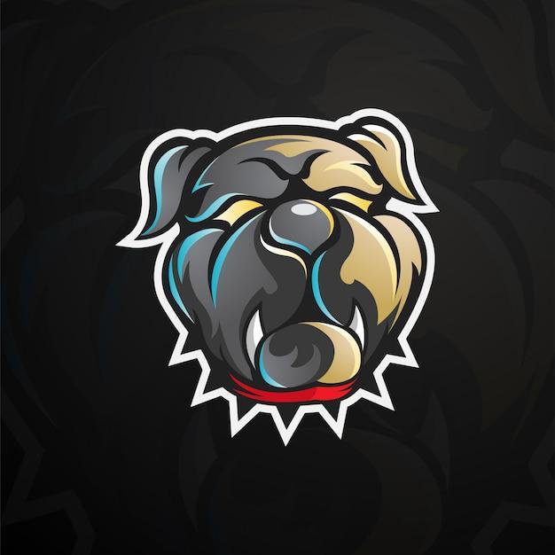 Логотип голова бульдога Premium векторы