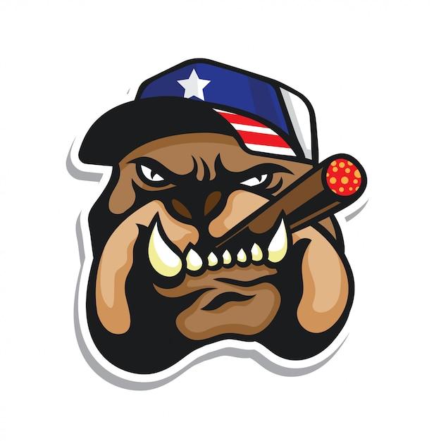 Bulldog head logo usa flag hat sticker Premium Vector