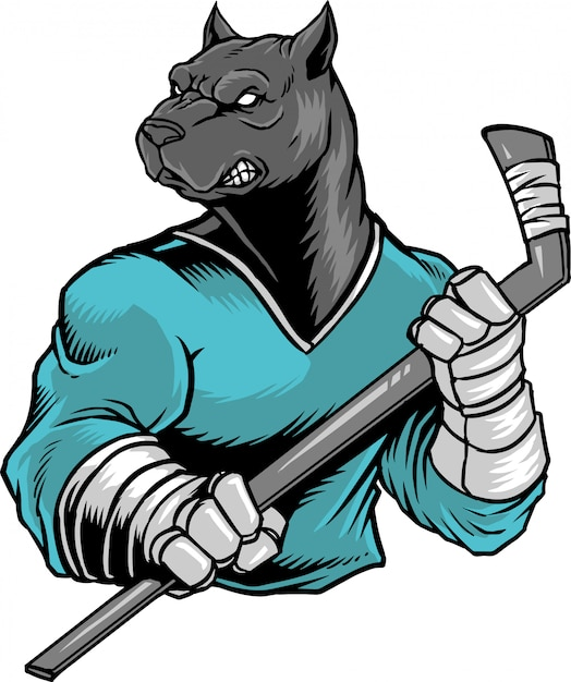 Bulldog hockey Premium Vector