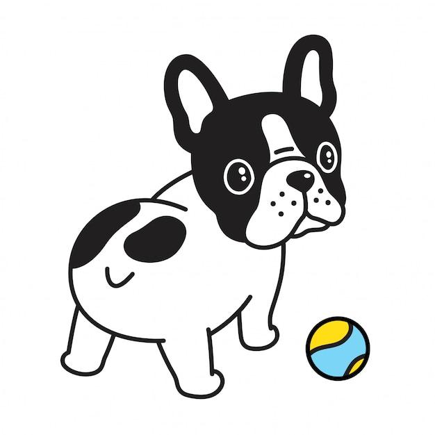 Bulldog with tennis ball cartoon Premium Vector