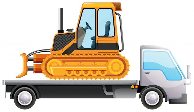 Bulldozer on flatbed truck Free Vector