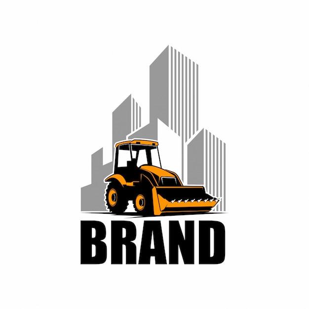 ブルドーザーのロゴ Premiumベクター