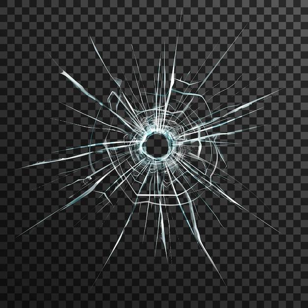 Пулевое отверстие в прозрачном стекле на абстрактном фоне с серым и черным орнаментом Бесплатные векторы