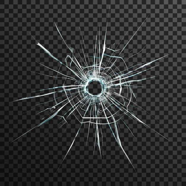 Bullet hole in transparent glass on abstract background with grey and black ornament Free Vector