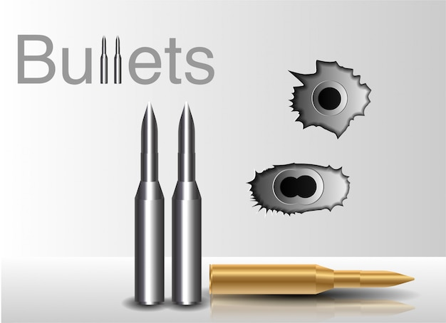Bullet holes. against the background of a bullet Premium Vector