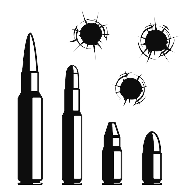 총알 구멍을 설정합니다. 무료 벡터