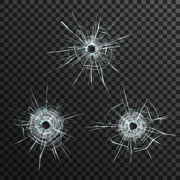 Bullet holes template in glass on transparent gray background Free Vector