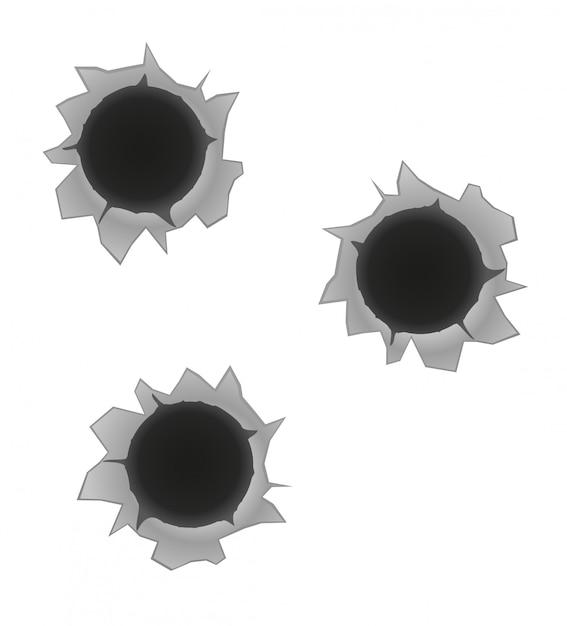 Bullet holes vector illustration Premium Vector