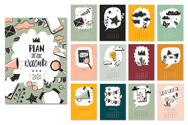 Bullet journal doodle calendar months set. new year  calendar template  with bullet doodles journal and flowers elements. all months pages, cover frame illustration Premium Vector