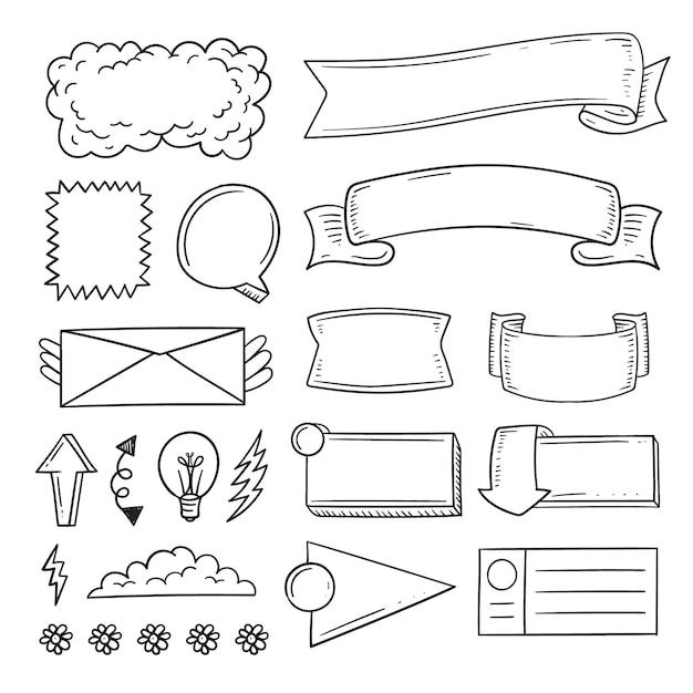 Элементы журнала пули рисованной копией пространства Premium векторы