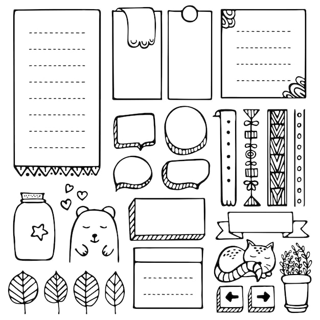 Bullet journal hand drawn vector elements for notebook, diary and planner. doodle frames set isolated. Premium Vector
