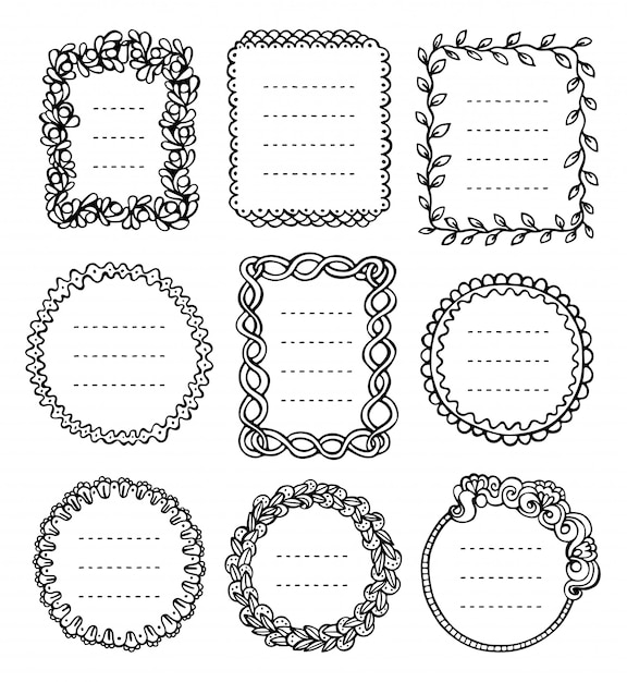 Bullet journal hand drawn vector frames for notebook, diary and planner. Premium Vector