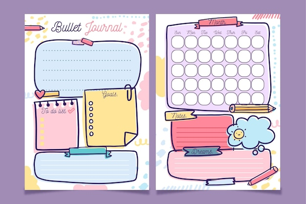 Bullet journal planner template Free Vector