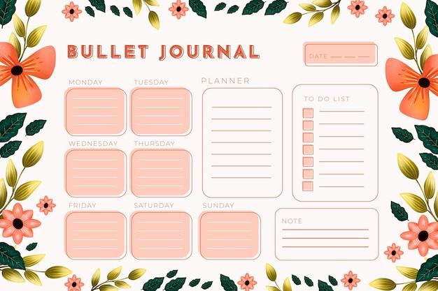 Bullet journal planner template Free Vector