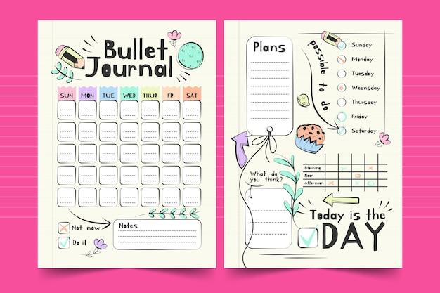 Free Vector Bullet Journal Weekly Planner Template