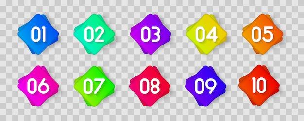 Значок маркера с номером от 1 до 12 для инфографики, презентации. номер маркеры красочные 3d маркеры, изолированные на прозрачном фоне. цвет градиента липкой точки. Premium векторы