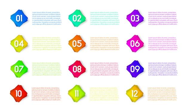 Значок маркера с номером от 1 до 12 для инфографики, презентации. номер маркеры красочные 3d маркеры, изолированные на белом фоне. цвет градиента липкой точки. иллюстрация, eps 10. Premium векторы