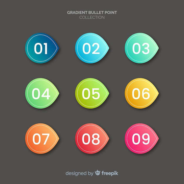 Bullet point collection Free Vector