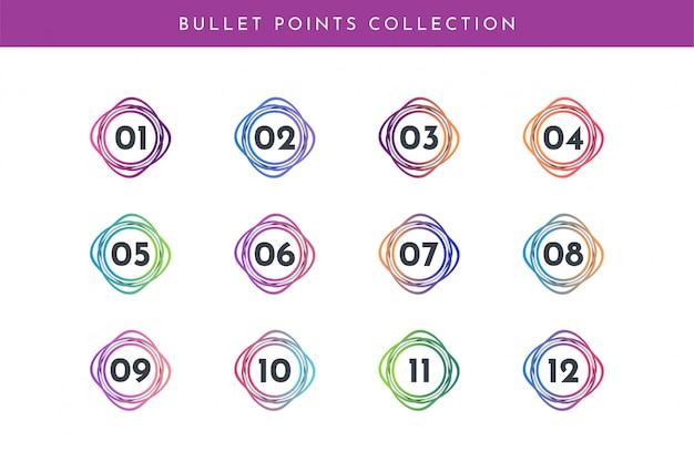 箇条書き番号コレクションセット1〜12 Premiumベクター