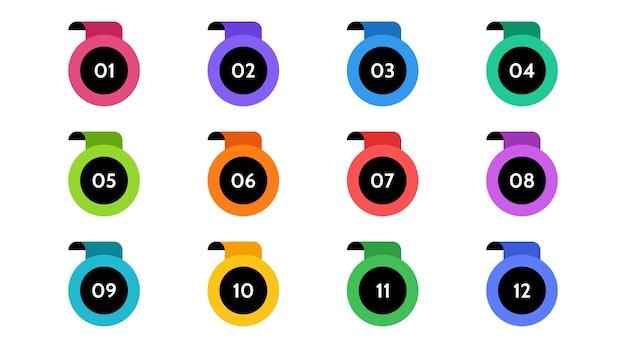 Данные по маркерам, информационные маркеры. значок стрелки установлен. число флажков от 1 до 12 плоский изолированный дизайн. инфографическая иллюстрация. Premium векторы