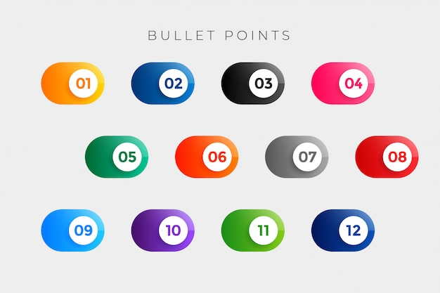 Bullet points numbers in button style from one to twelve Free Vector