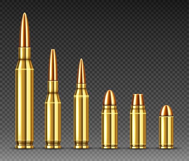 Пули разных калибров стоят в ряд, патроны Бесплатные векторы