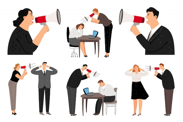 Bullhorn screaming business people Premium Vector