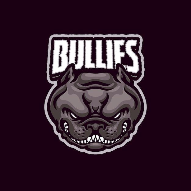 Eスポーツおよびスポーツチームのbulliesdogmascotロゴ Premiumベクター