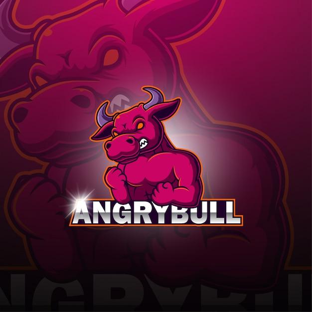 Логотип талисмана bulls esport Premium векторы