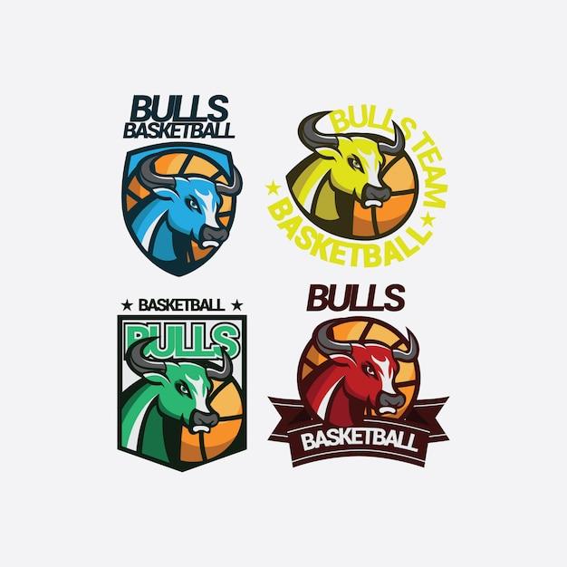 Bulls mascot sport logo Premium Vector