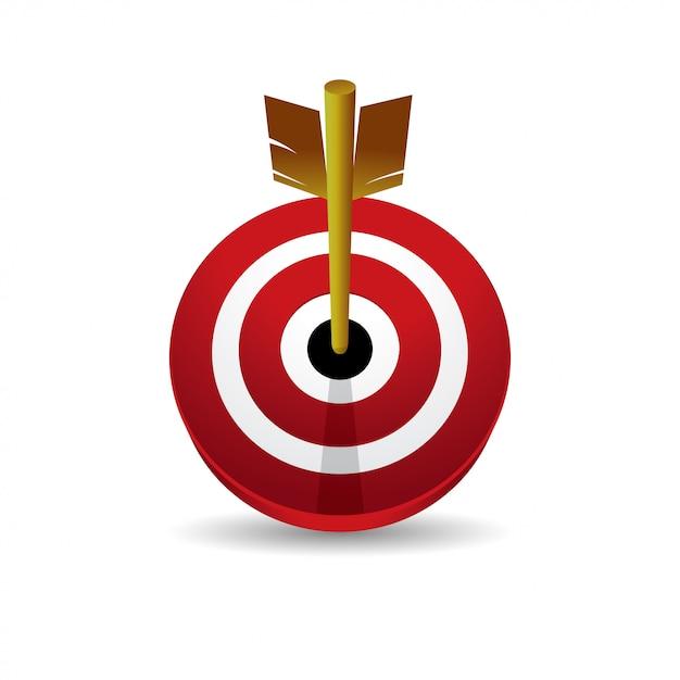 Bullseye 3d vector icon front view Premium Vector